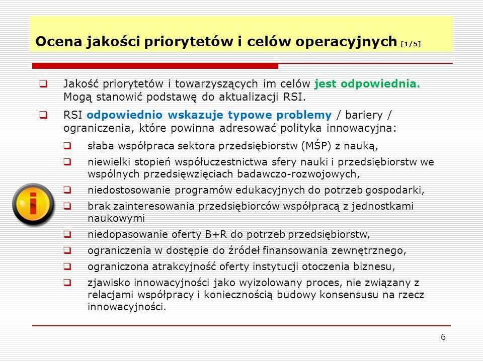 Ocena jakości priorytetów i celów operacyjnych [1/5]